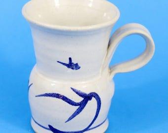 Studio Art Pottery Hand Thrown Cup Mug, Signed, White, Cobalt Blue