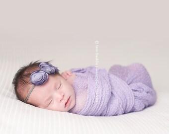 Smokey Lavender Three Satin Baby Flower Headband, Newborn headband, Baby Girl Flower Headband, Photography Prop