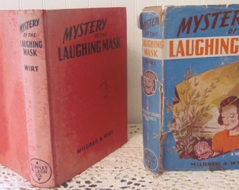 vintage Mildred A. Wirt Mystery of the Laughing Mask book (c) 1940. First edition Collectible Cupples & Leon HC DJ.