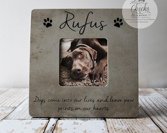 Dogs Come Into Our Lives And Leave Paw Prints On Our Hearts Pet Memory Picture Frame, Personalized Pet Picture Frame, Pet Loss Gift Idea