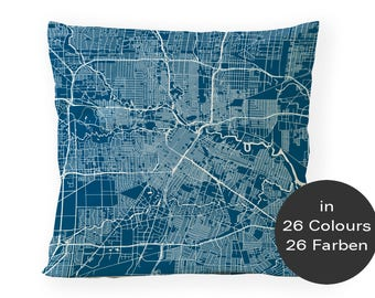 Pillow HOUSTON TX Map, Cushion Cover, Houston street map, gift for the home, Houston TX souvenirs, couch pillows, 16x16 custom pillow cover