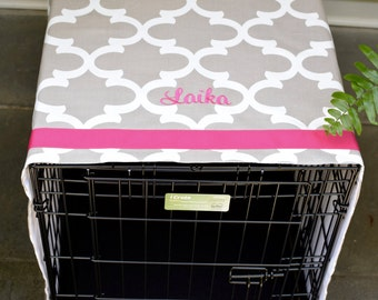 Crate Cover Ecru Quatrefoil with Hot Pink Name || Dog Kennel Cover Add Pets Name || Personalized Puppy Gift by Three Spoiled Dogs