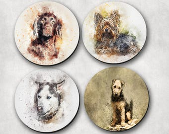 Coasters, Dogs, Dog Coaster, Watercolor Animal Coaster, Pet Lover Gift  (0070)