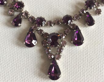 Vintage purple stone paste necklace. Party. Prom. Celebration. Wedding. Brides. Bridesmaids.
