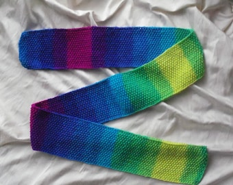 READY TO SHIP*** Hand knit scarf in variegated yarn of blues, purples and greens