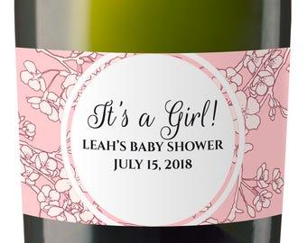 Set of 10 Baby Shower Custom Mini Champagne Label, Personalized Baby Shower Mini Champagne Label, Baby Shower Favor labels MN#82