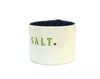 large whimsical hand built  porcelain salt  cellar,   vessel  ...  pig