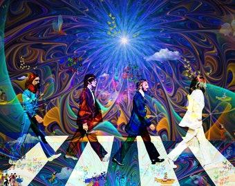 "ABBEY ROAD DREAMS"" Beatles,Visionary, Art,Legends,Musicians,Paintings,Surrealism,Canvas,Moon,Yellow,Blue,Submarine,Color,Birds,Butterflies."