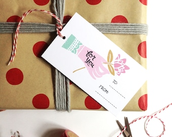 For You Hand Holding Flower Gift Tags - Set of 10
