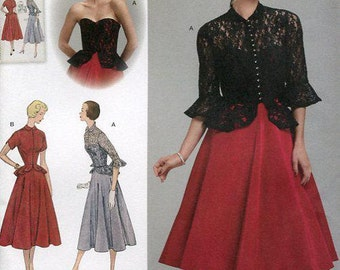 FREE US SHIP Vintage 50's Sewing Pattern Simplicity 1250 Retro 1950's Dress Jacket Bodice Overlay Bust 30-44 Uncut Size 6/14 14/22