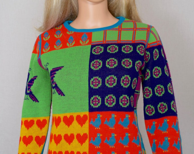 Vintage 1970's Women's Color Blocked Patchwork POP ART Heart Strawberry Peacock Flower Plaid Bird Hippie Sweater Size S