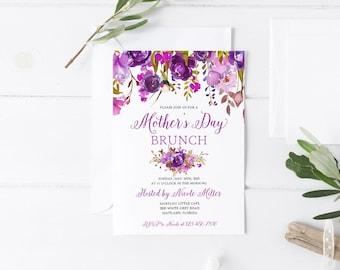 Violet jour Brunch Invitation Ultra Violet de fête des mères imprimable rustique Floral des mères Brunch Invite violet Bohème fête des mères