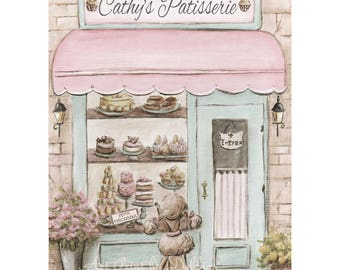 Paris Theme Personalized Paris Bedroom Decor, Laduree Watercolor Print, Patisserie With Girl's Name, Blush Pink, Shabby Chic, 5x7 to 24x36
