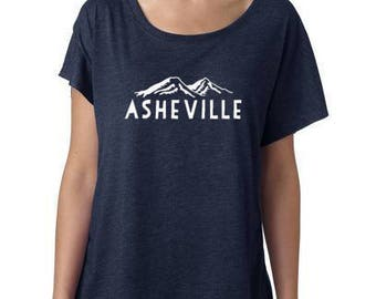 Asheville, Women's Graphic Dolman Tee, Screen Printed, Asheville Ladies Tee, Blue Ridge Mountains, Navy