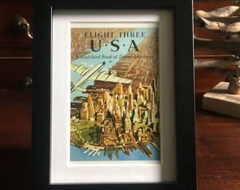 Retro Ladybird Book cover Framed. Flight Three U.S.A