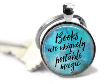Book Lovers Keychain, Keychain or Pendant, Librarian Gift, Literary Necklace, Literary Gift, English Teacher Gift