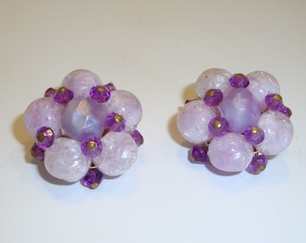 Vintage Purple Cluster Earrings - West Germany Bead Earrings - 1950's Earrings - Vintage Jewelry
