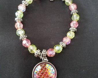 Pink/Green Mermaid Bracelet