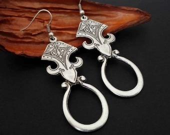 Boho Earrings   Antique Silver Dangle Earrings   Silver Tribal Ethnic Earrings    Boho Chic Gipsy Earrings   Pendientes   Ethnic Jewelry