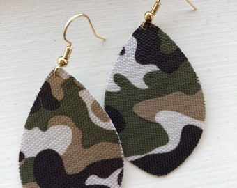 Camouflage Oval Dangles