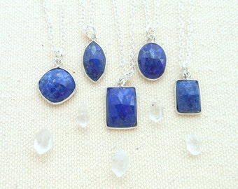 Lapis lazuli necklace on sterling silver chain third eye jewelry throat chakra lapis lazuli pendant