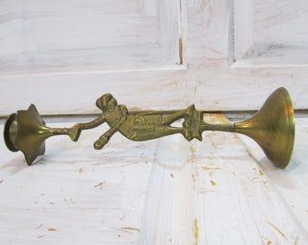 Vintage candleholder  Brass candleholder  Candleholder  Retro home decor  Girl candleholder  Candlestick holder  Retro candleholder