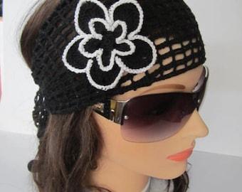 Black and White Lace Headband, Black Crochet Summer Head band, Women Lace Headwrap, Summer Headcover for Women Headband, Summer Headband