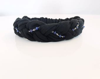 Braided headband, jersey headband, braid headband, yoga headband, cotton headband, elastic headband, woman headband, jewelled headband