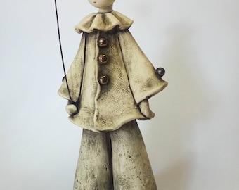 Pierrot, the Sad Clown, ceramic sculpture, ceramic doll, clay figurine, ceramic figurine, clay sculpture
