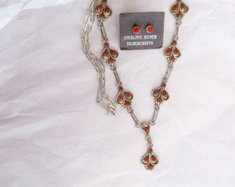 CHILDS SQUASHBLOSSOM NECKLACE Earrings Sterling Red Coral
