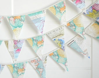 Fabric Bunting Flags, Map Garland for Nursery, Travel Wedding Garland, Vintage Map Bunting, Travel Theme Baby Shower, Adventure Awaits Gift