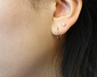 14K Solid gold Endless Hoop Earrings // 14K Gold Hoop Earrings // Everyday Big hoops / Big circle Earrings // Gifts for her