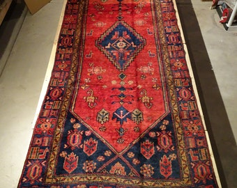 "Vintage Persian Rug 1930's HAMEDAN 3' 11"" x 10' Handmade, Hand-knotted, Natural Dyes, Bohemian, Boho Chic, Made in Iran 840m"