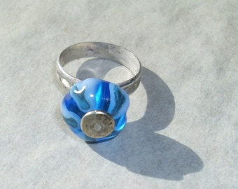 Candy Ring  hand forged sterling silver and glass bead