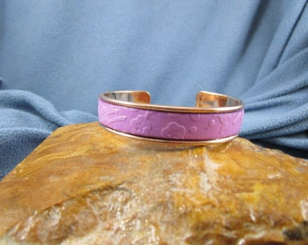 10mm  Embossed Light Purple Flat Leather Rose Gold Tone Metal Cuff Bracelet with Multi Small Flower Design