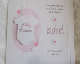 Personalised Handmade New Baby Girl Card with Little Princess Babygrow
