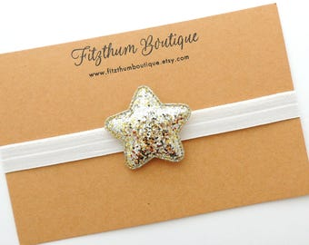Silver star hair bow - Star headband - Star clip - Glitter star hair bow - Silver star hair bow  - Gold glitter star headband