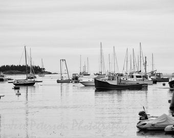 Fishing Boats Photography, Maine New England Wall Art, Nautical Home Decor, Black & White Decor, Gift for male, Boat lover gift, Boat print