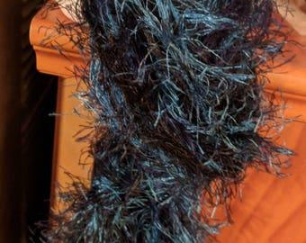 Scarf blue fuzzy