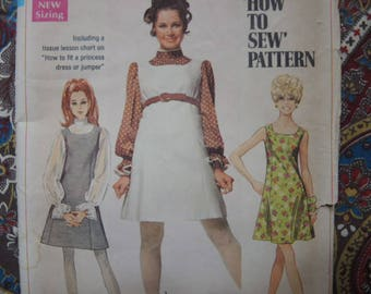 vintage 1960s simplicity sewing pattern 8008 juniors  jumper or dress and blouse  size 9/10