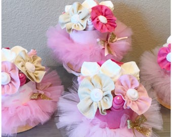 Pink Tutu/Ballerina Baby Shower  Centerpieces - Pink and Gold Diaper Cake  - Princess Baby Shower - Pink and Gold Tutu Diaper Cake