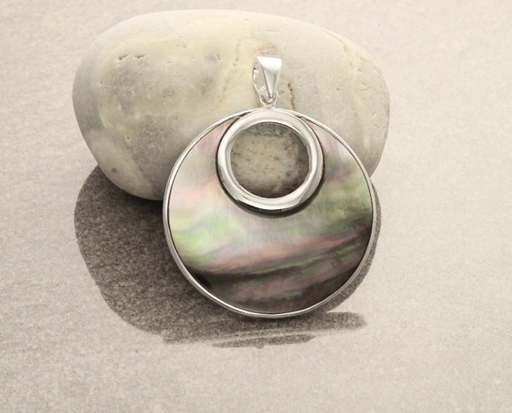 GENUINE Gray Paua Shell Unique Round Pendant, Sterling Silver, Grey Pearl with Iridescent Rainbow Highlights, Geometric Minimalist Pendant