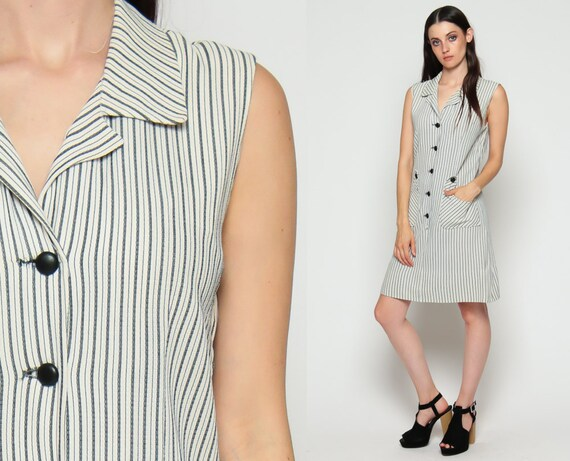 70s Mini Dress 60s Shift Mod Striped Button Up Collared Sleeveless Vintage 1970s Twiggy Gogo Pocket White Grey Shirtdress Large