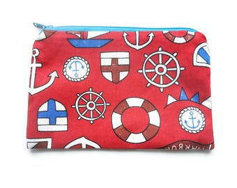 coin purse, nautical coin purse, coin pouch, fabric coin purse, fabric coin pouch, small purse, wallet, stocking filler