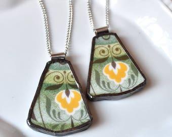 You ComPlate Me - Matching Broken Plate Friendship Necklaces - Green and Yellow - Recycled China