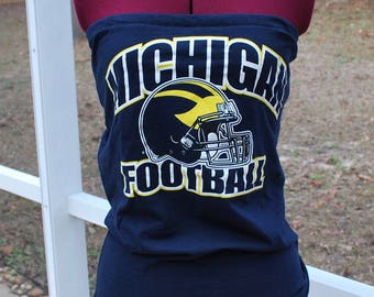 University of Michigan Wolverine Upcycled Womens Strapless Top Shirt Size Small / Medium