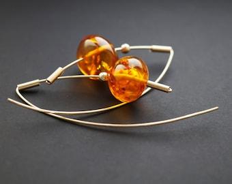 10g. Handmade Amber Long Earrings SALE