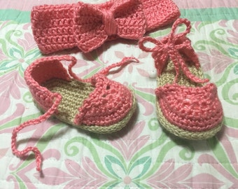 Size 6-10 month crochet sandals and matching headband