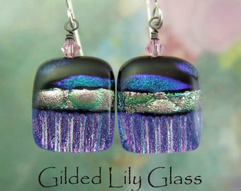 Cobalt Crush Dichroic Glass Earrings, Handmade Fused Glass Jewelry  from North Carolina
