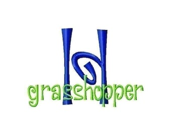 Grasshopper Font machine embroidery design INSTANT DOWNLOAD BX
